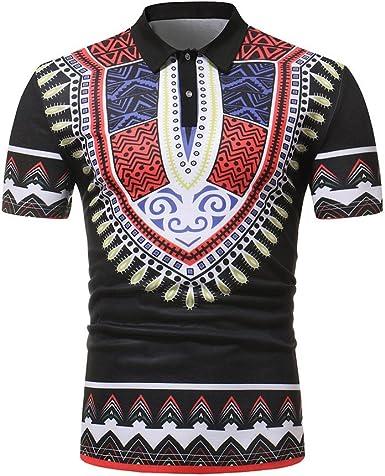 Sallydream Camisas Polo Hombre Camiseta Ajustada Africana de la Camiseta del músculo de la Manga Corta de los Hombres Ajustada Blusa Ocasional de los Tops: Amazon.es: Ropa y accesorios