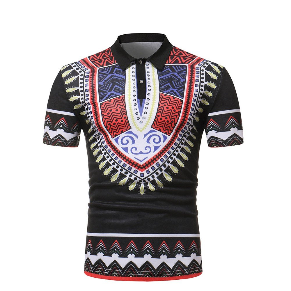 iZHH Mens Shirt Slim Fit Short Sleeve African Style Printed Muscle Tee T-Shirt Casual Tops Blouse