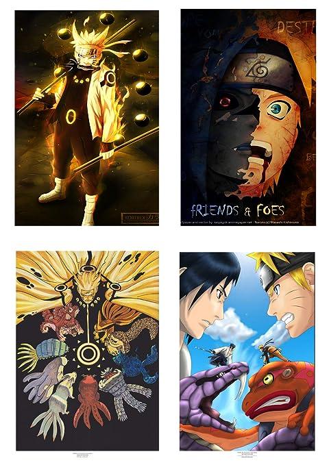 MS Fun Naruto Anime Wall Poster Uchiha Sasuke and Naruto Uzumaki Legend of Ninja Canvas Artwork Poster,16 x 20 Inches,Set of 4 Posters