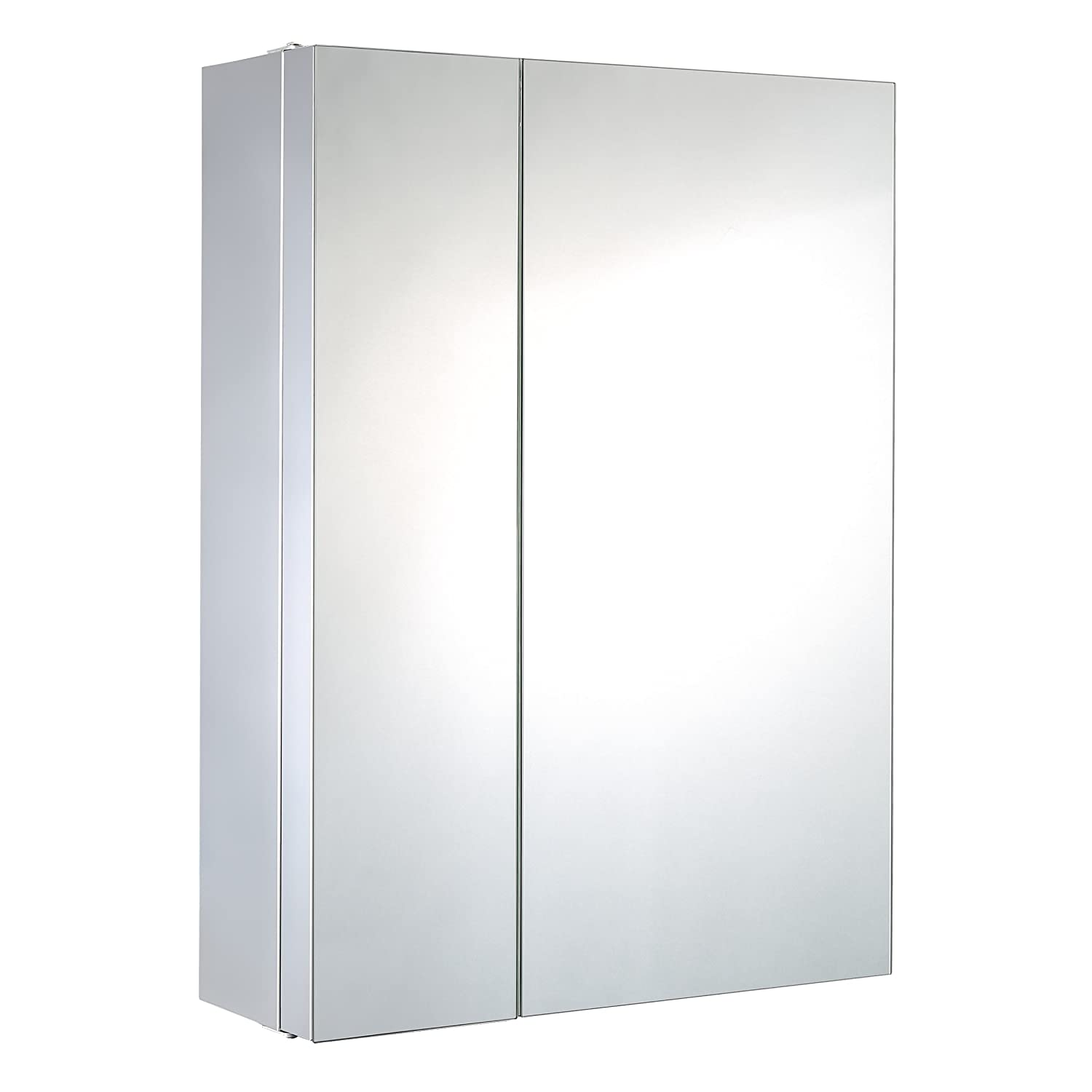 Harima - Double Door Corner Cabinet with Mirror and 2 Large Shelves and 3 Small Shelves, Wall Mounted, Stainless Steel Frame