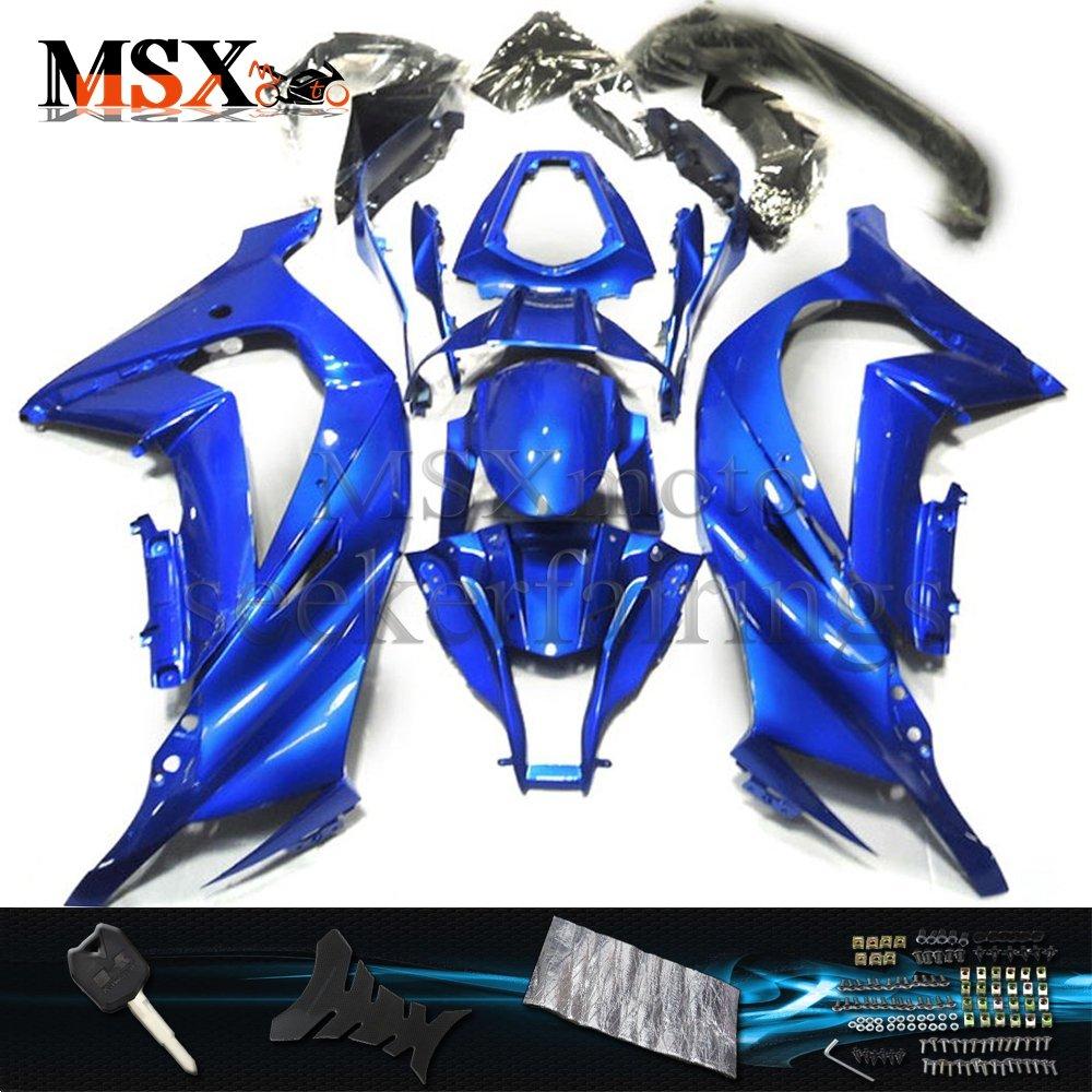 MSX-moto 適応 ZX10R 2011 2012 2013 2014 2015 ZX 10R 11 12 13 14 15 年 外装パーツセット ABS射出成型完全なオートバイ車体 青/ブルーのボディ   B07DZNJNCN