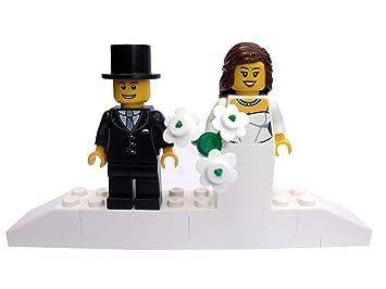 Bride BROWN Hair And Groom On Brick Plinth Stand