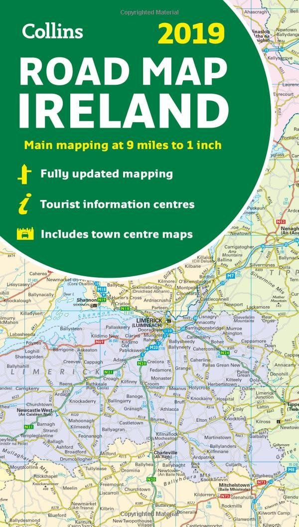 Images Of Map Of Ireland.2019 Collins Map Of Ireland Collins Maps Amazon Co Uk Collins