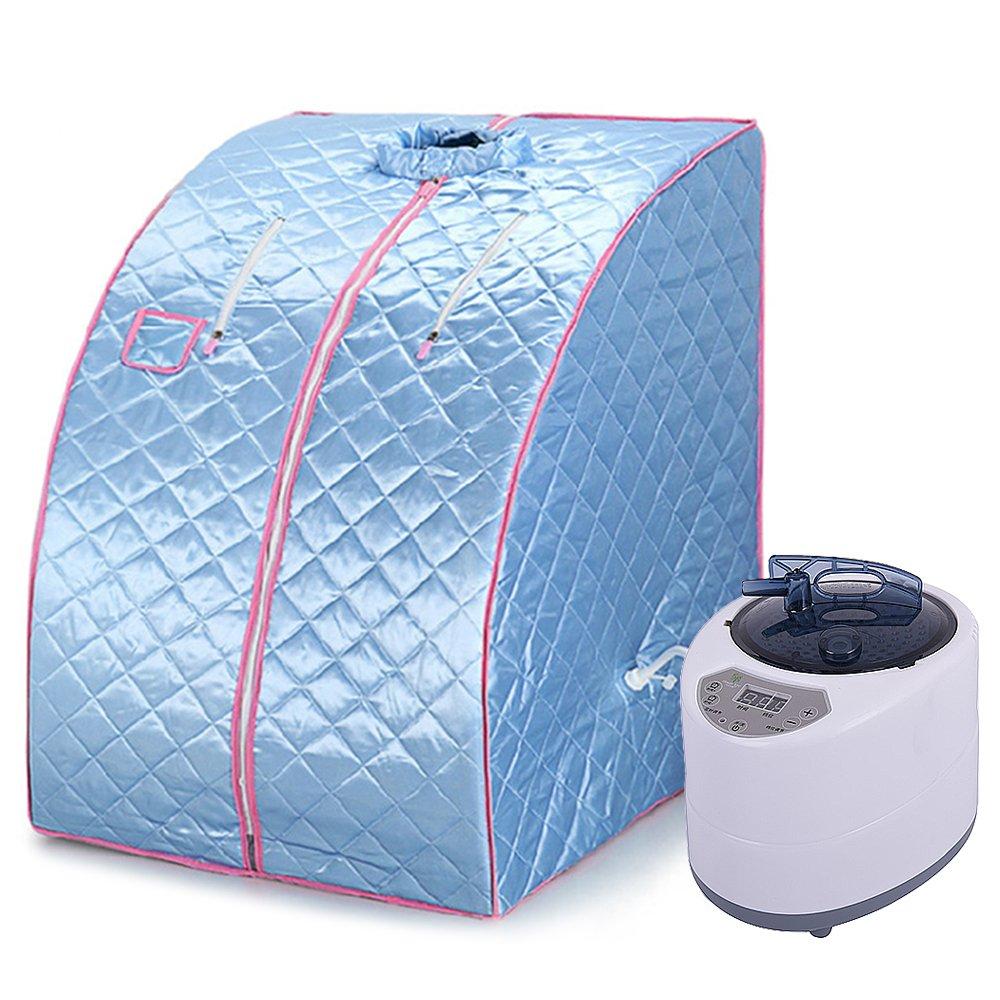 WeFun Home Sauna Steam, 1200W 220V Portable Sauna Cabin Steam Full Body Fumigation (Blue)