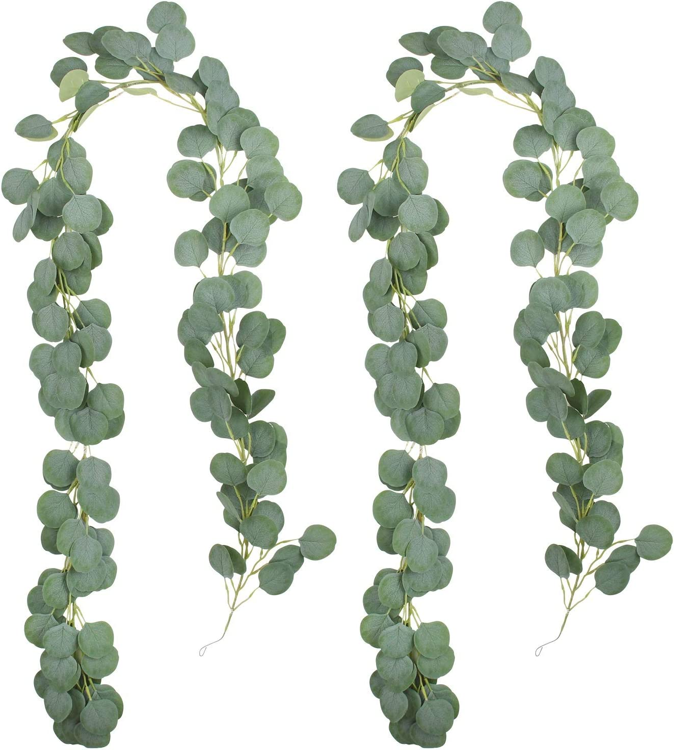 Artificial Vines Greenery Garlands, 2 Pack Artificial Faux Eucalyptus Garland Leaves Garland, 6.5ft Silk Spring Table Garland for Wedding Backdrop Arch Wall Decoration, Party Decor