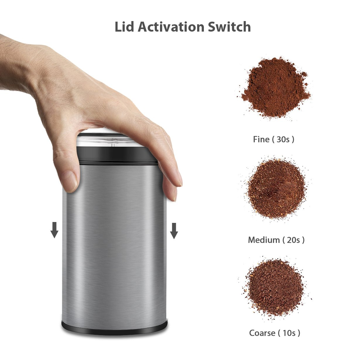 Coffee Grinder Electric, TOBOX Multifunctional Stainless Steel Blade Coffee Grinder Fast Grinding Coffee Beans, Nuts, Grains, Spices (Sliver) by TOBOX (Image #3)