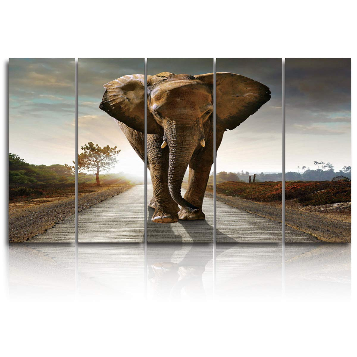 EZON-CH 5 Panels Canvas Wall Art Prints Elephant Walking in Sunrise Painting On Canvas Modern Artwork Extra Large Poster Ready to Hang for Living Room Bedroom Office Home Decor - 12x32 inchx5