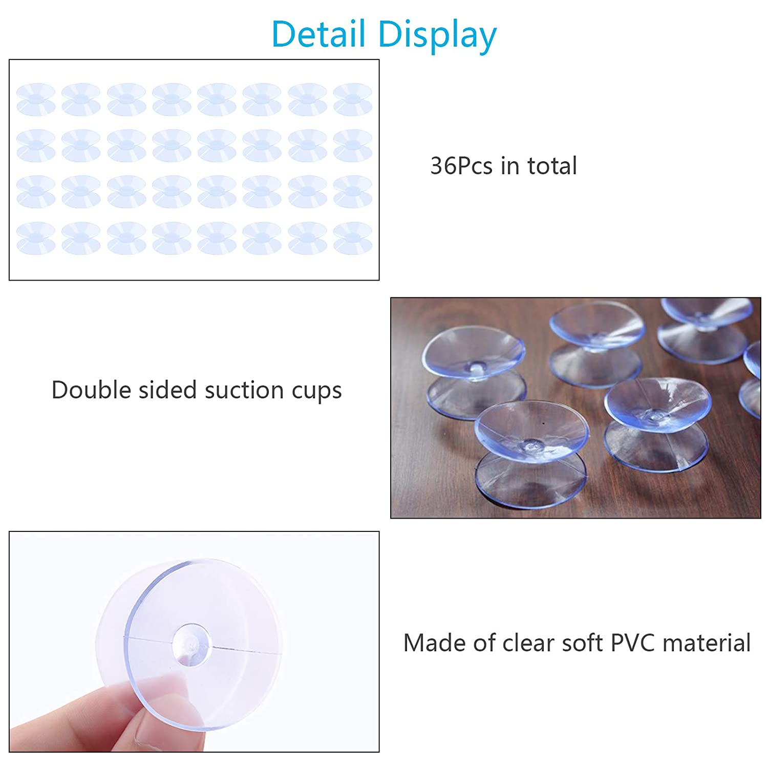 Window Hanger Suction Cup. BIGKASI 36pcs Double Sided Suction Cups Sucker Pads for Glass Plastic 30mm,Glass Table Top Bumpers,Glass Table Top Spacers