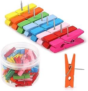 50 PCS Colorful Push Pin with Wooden Clips, Durable Wooden Push Pins, Decorative Pushpins Tacks Thumbtacks, Tacks for Cork Board Artworks Notes Photos, Craft Projects, Offices and Homes (8 Colors)