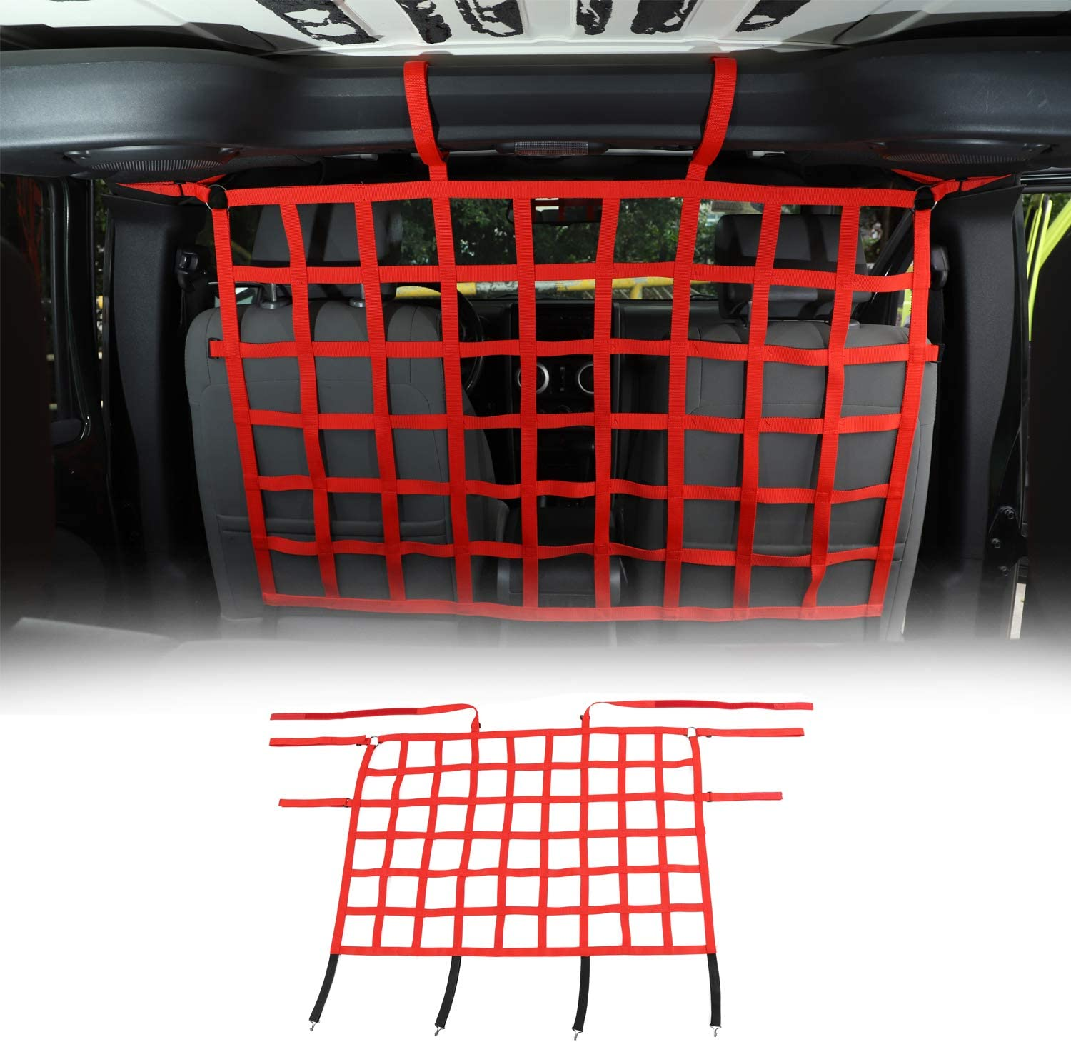 RT-TCZ Vehicle Pet Barrier Backseat Mesh Dog Car Divider Net for Jeep Wrangler Accessories with Auto Safety Mesh Organizer for 2007-2021 Jeep Wrangler JK JL JT 2 Door 4 Door Red
