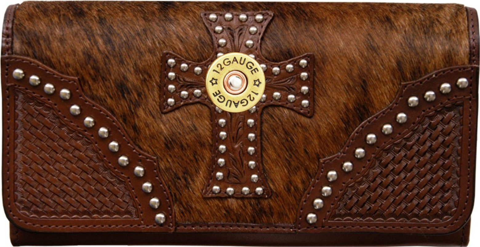 Custom 12 Gauge Natural Hair Christian Clutch Wallet with removable checkbook