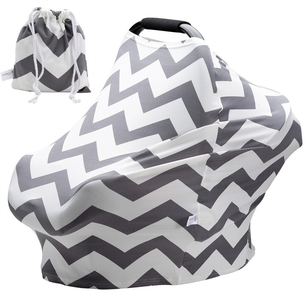 Baby Car Seat Covers Super Soft Stretchy and Breathable Nursing Covers for Boys and Girls with Pouch Cute Gray Wave Stripes Arnzion