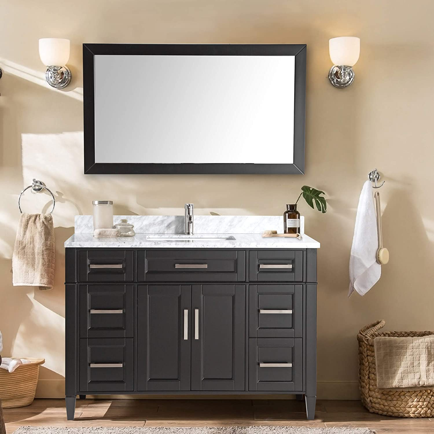 Vanity Art 60 Inch Single Sink Bathroom Vanity Set Carrara Marble Stone Soft Closing Doors Undermount Rectangle Sink with Free Mirror – VA2060-E