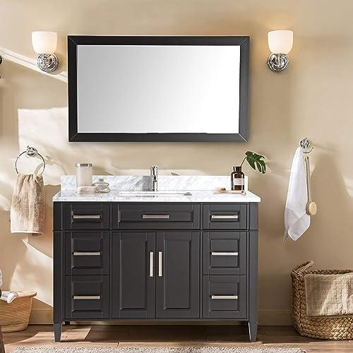 Vanity Art 60 Inch Single Sink Bathroom Vanity Set Carrara Marble Stone Soft Closing Doors Undermount Rectangle Sink with Free Mirror – VA2060-E