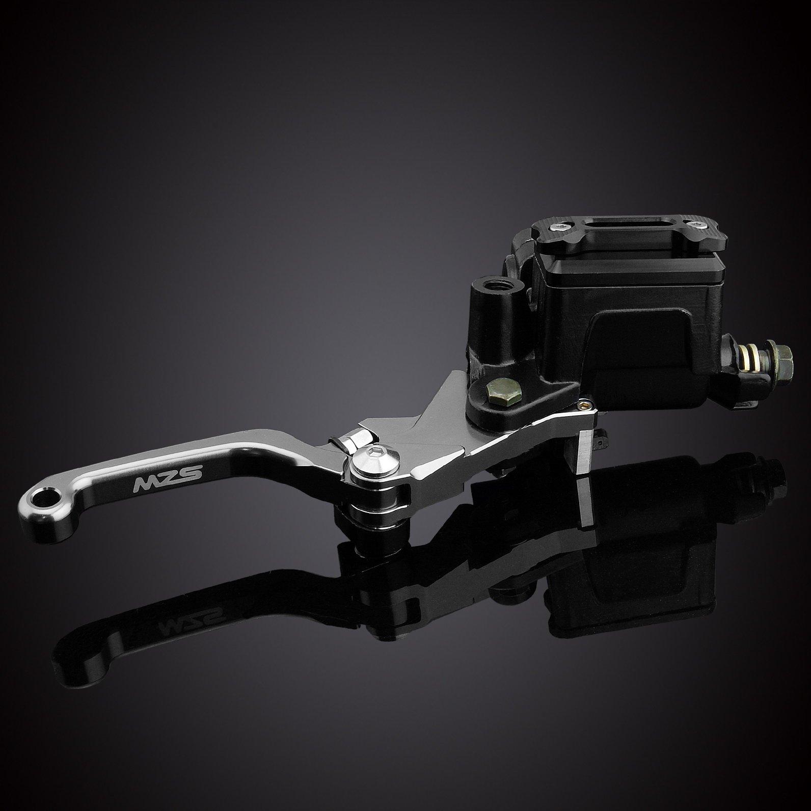 MZS 7/8 Brake Master Cylinder Reservoir Pivot Levers Set for Honda Yamaha Suzuki Kawasaki KTM (Gray) by MZS (Image #3)