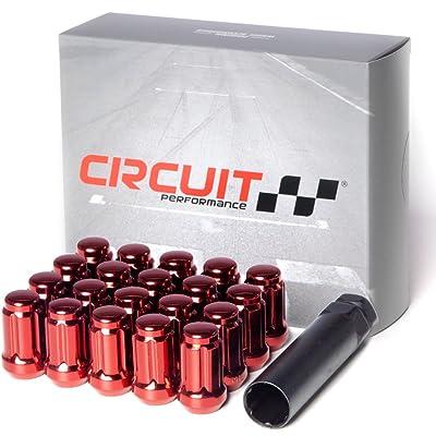 Circuit Performance Spline Drive Tuner Acorn Lug Nuts Red 12x1.5 Forged Steel (20pc + Tool): Automotive