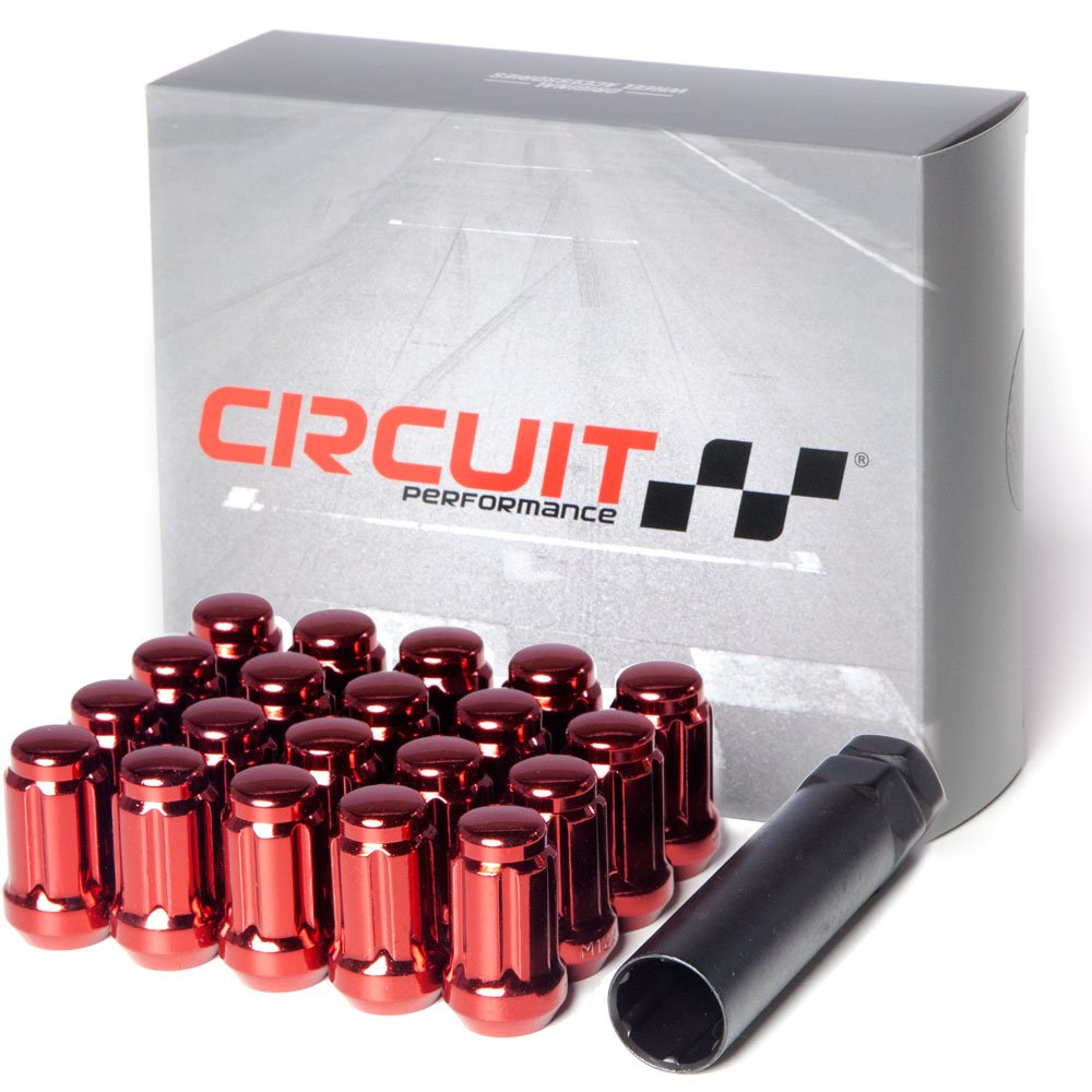 Circuit Performance Spline Drive Tuner Acorn Lug Nuts Red 12x1.5 Forged Steel (20pc + Tool)