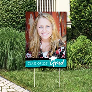 product image for Big Dot of Happiness Custom Teal Grad - Best is Yet to Come - Photo Yard Sign - Turquoise 2021 Graduation Party Decorations