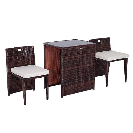 Tavolo Sedie Giardino Rattan.Outsunny Set Mobili Da Giardino In Rattan E Ferro 3 Pz Set Di Tavolino E Sedia Con Cuscino