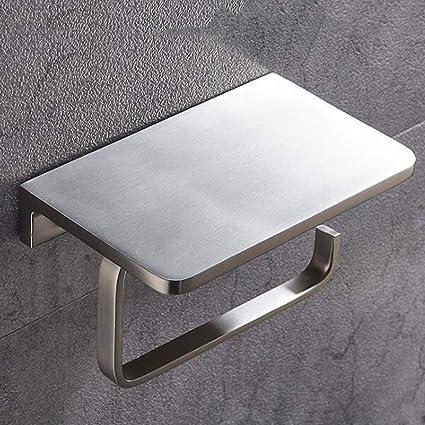 FRGVSXZCX Portarrollos Portarrollos de Papel higiénico Negro Toallero para teléfono Estante para Toallas Gancho para enrollar