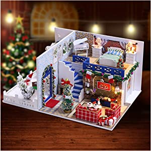 Eoncore DIY Miniature with Furniture Piano Christmas Decoration Dollhouse Kit with Light, Dust Proof Cover, Wood Family Toy for Boys Girls Adults (Merry Christmas)
