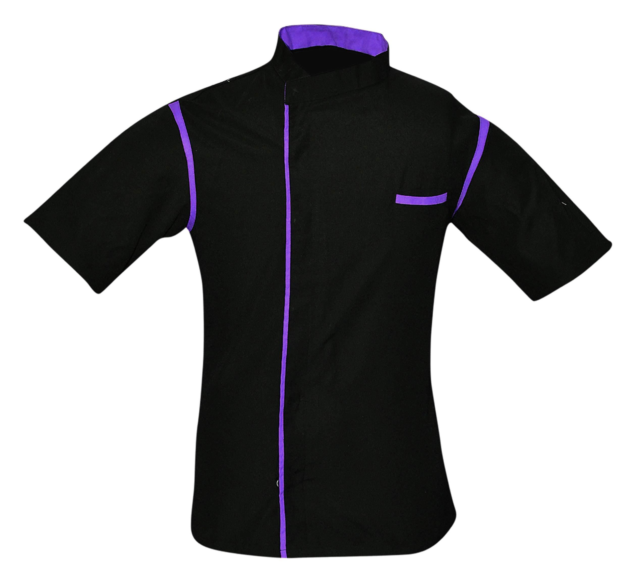 Leorenzo Creation HN-06 Men's Chef Coat with Purple Piping (Size- XXXXL, Black Colour)