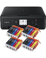 Canon Pixma TS5050 TS-5050 Farbtintenstrahl-Multifunktionsgerät (Drucker, Scanner, Kopierer, USB, WLAN, Apple AirPrint) schwarz + Set IC-Office XL Tintenpatronen 570XL 571XL (Mit 20 XL Patronen)