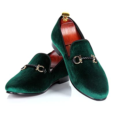 8c461bec1fbf Men Velvet Loafers Handmade Buckle Wedding Shoes (7) Green
