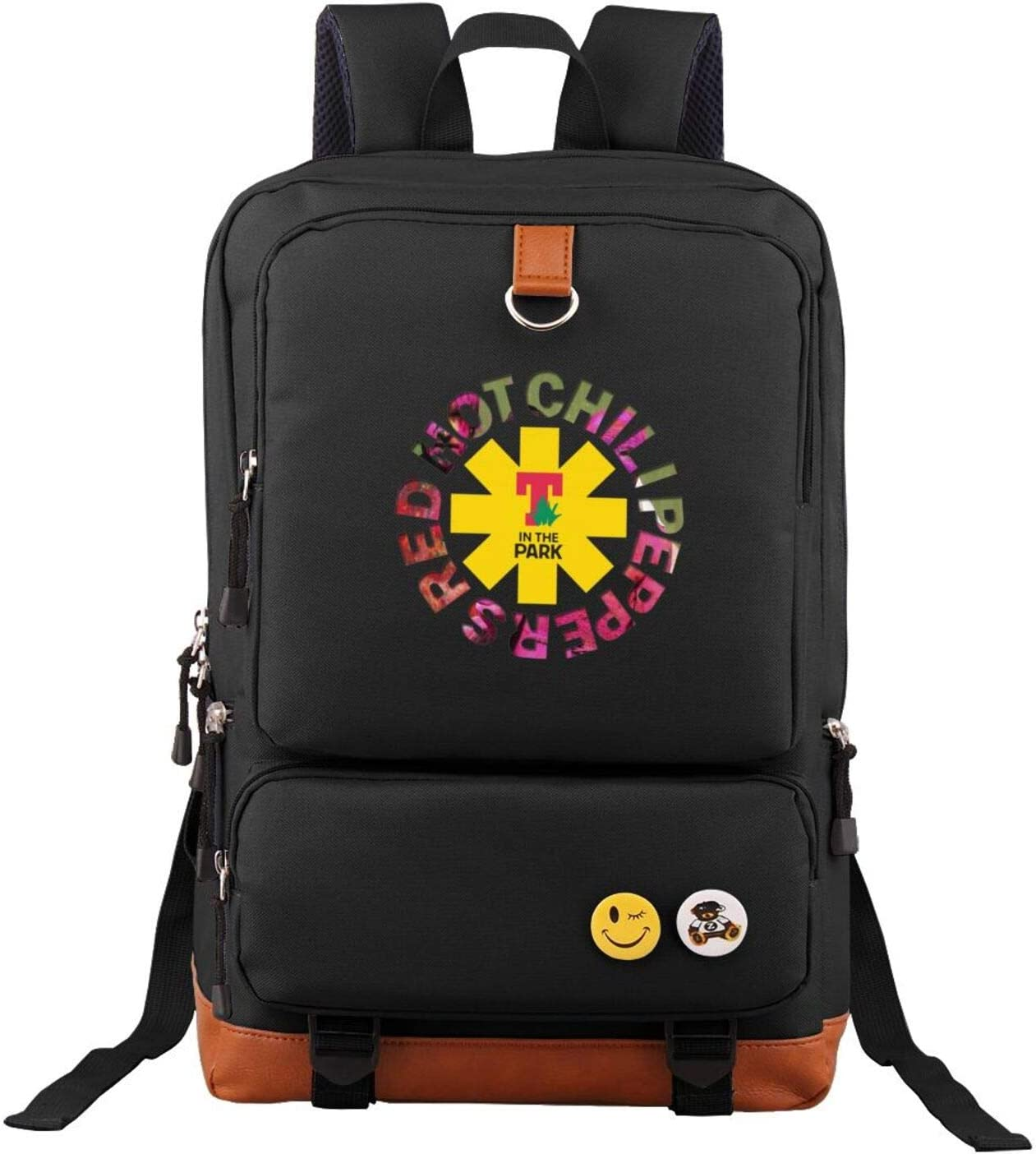 Black Unisex Red Hot Chili Peppers Backpack Vintage Laptop Backpack Anti-Theft Water Resistant Bag Casual School Backpack