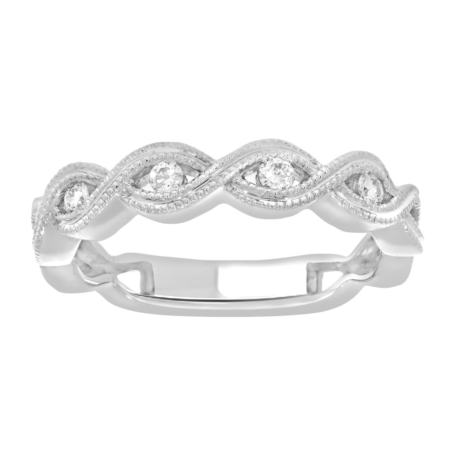 0.14 cttw White Diamond 14k White Gold Ladies Infinity Wedding Band Ring