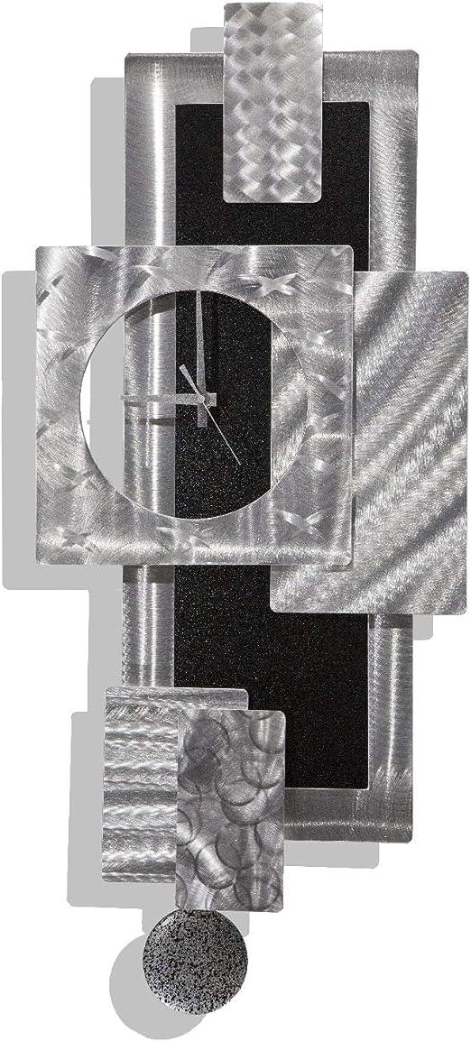 Statements2000 Silver Black 3d Metal Wall Clock Art Abstract Modern Functional Wall Sculpture Accent Modern Home Décor By Jon Allen 31 X 13 Titan Clock Home Kitchen
