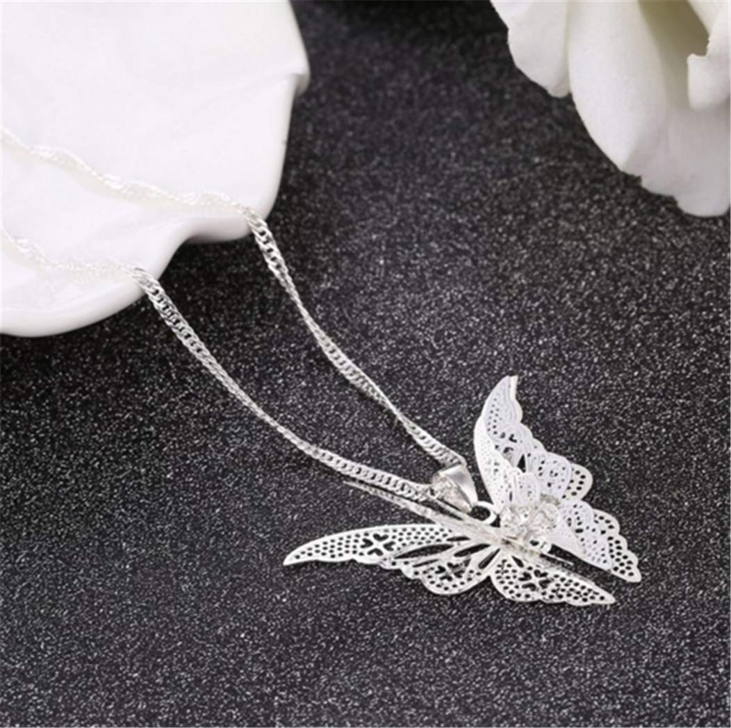Hollow Pointed Butterfly Necklace Wings Multi-Layer Pendant Jewelry by PG-kisseller (Image #3)