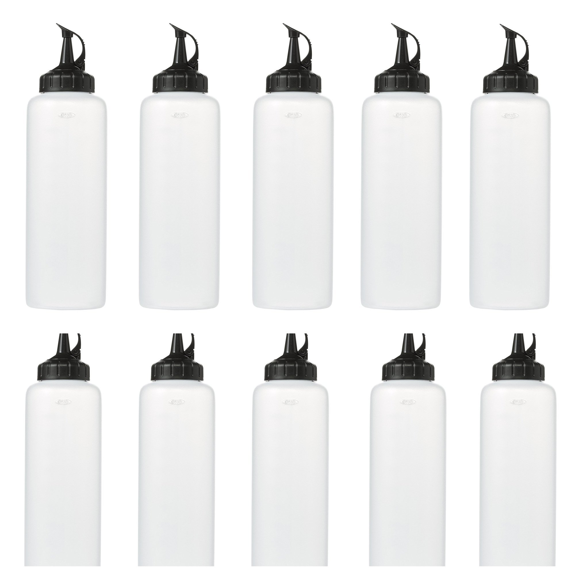 Clear, Plastic Squeeze Bottles With Measurement Marking and Attached Black Caps- Large 16 ounce Size- Perfect for Sauces, Condiments and Dressings- BPA Free- 12 Pack
