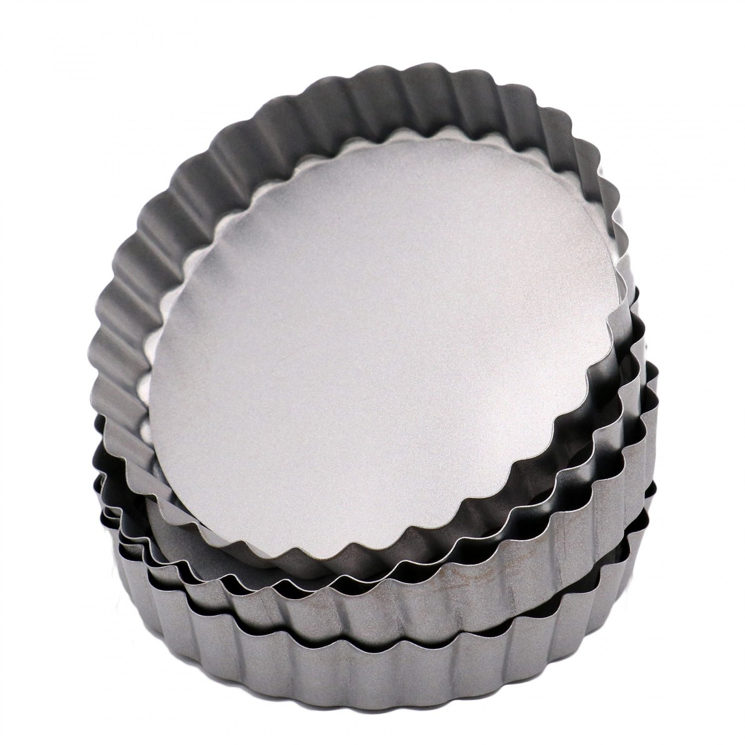 RTNOW Quiche Pans, Pack of 4 Commercial Grade Non Stick Removable Bottom 5 Inch Mini Tart Pans
