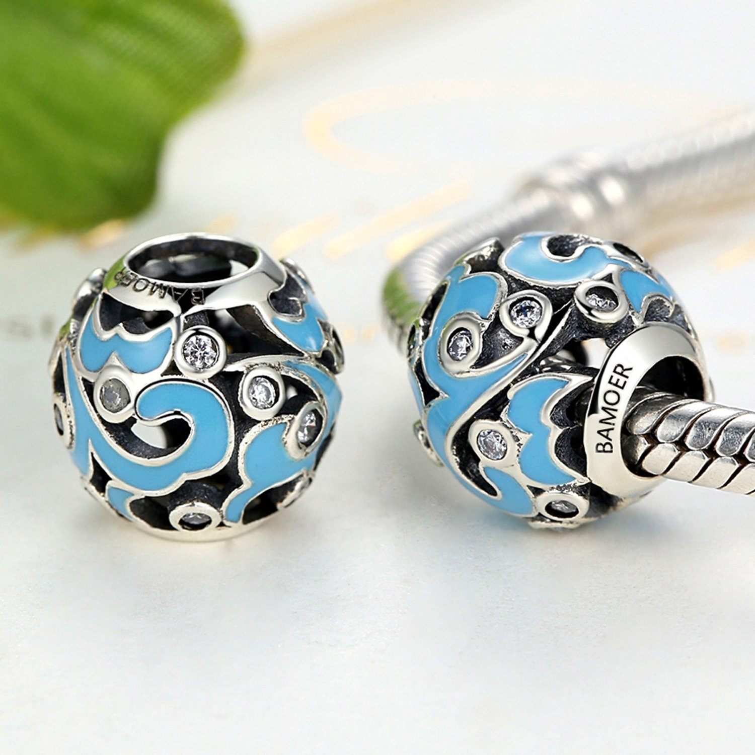 XingYue Jewelry S925 Sterling Silver Boat Anchor Bead Charm,Nautical Anchor Crystal Charm Bead fit Women Charms Bracelets