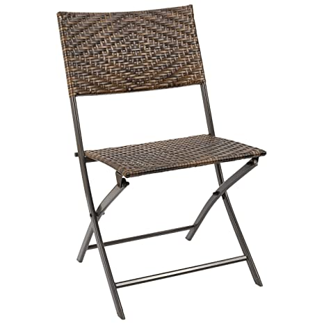 Groovy Homall Rattan Folding Chairs Outdoor Patio Wicker Chairs Patio Dining Chair Space Saving Camping Chair Pool Garden Beach Lawn Foldable Chair Machost Co Dining Chair Design Ideas Machostcouk