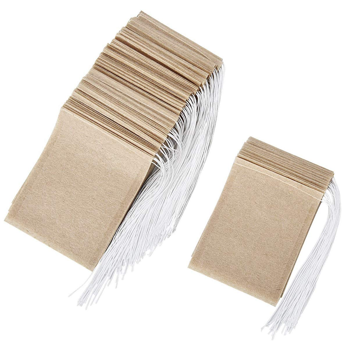 Dokpav 200 Pack Empty Tea Bags Disposable Drawstring Seal Filter Bag -Wood Color-for Loose Tea-5 * 7cm and 6 * 8cm