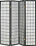 Legacy Decor 4 panel Shoji Screen Room Divider, Black