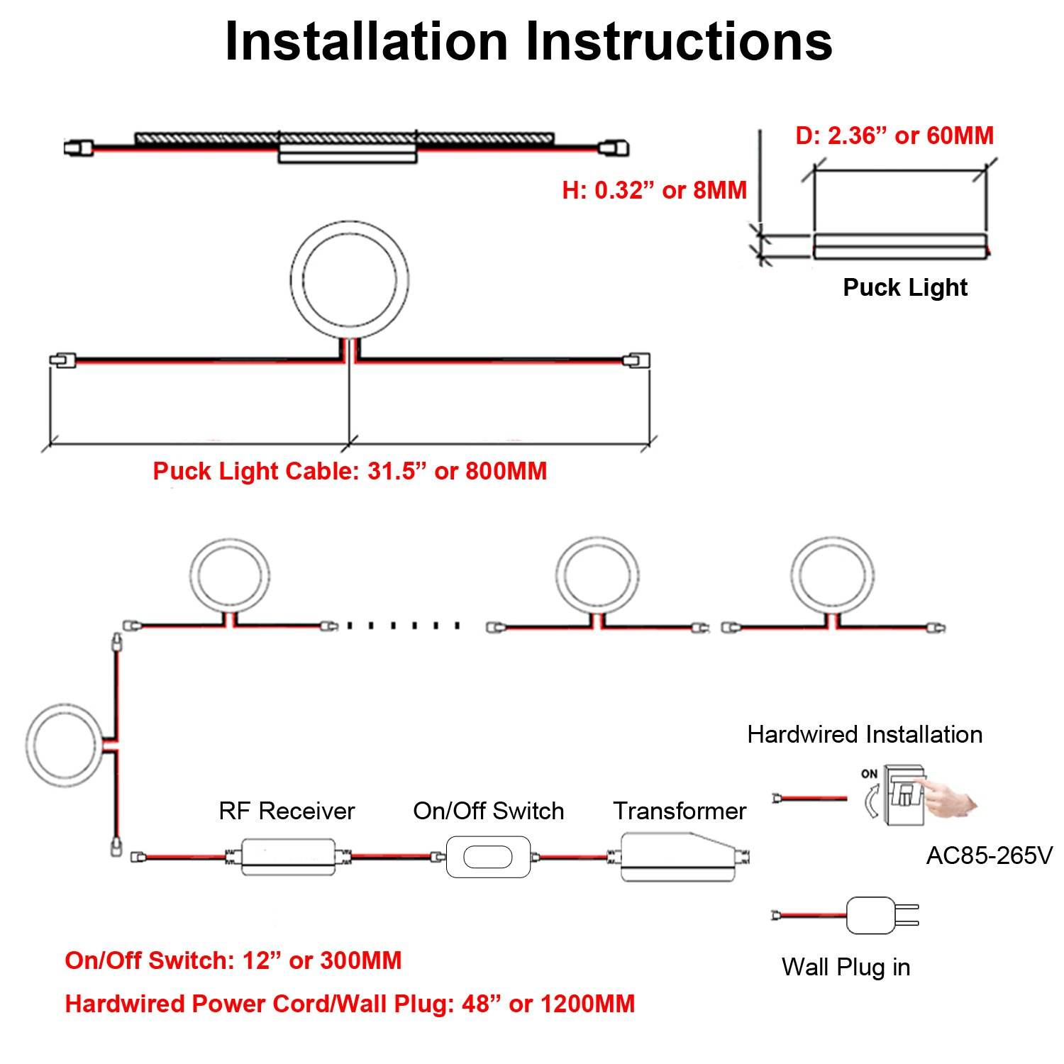Aiboo Linkable Under Cabinet Led Lighting 12v Dimmable Puck Lights Basic 12 Volt Wiring Diagram For With Wireless Rf Remote Control Hardwired Wall Plug In Furniture Cupboard