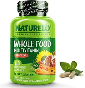 NATURELO Whole Food Multivitamin for Teens - Vitamins & Minerals for Teenage Boys & Girls - Supplement for Active Kids - with Plant Extracts - Non-GMO - Vegan & Vegetarian - 60 Capsules