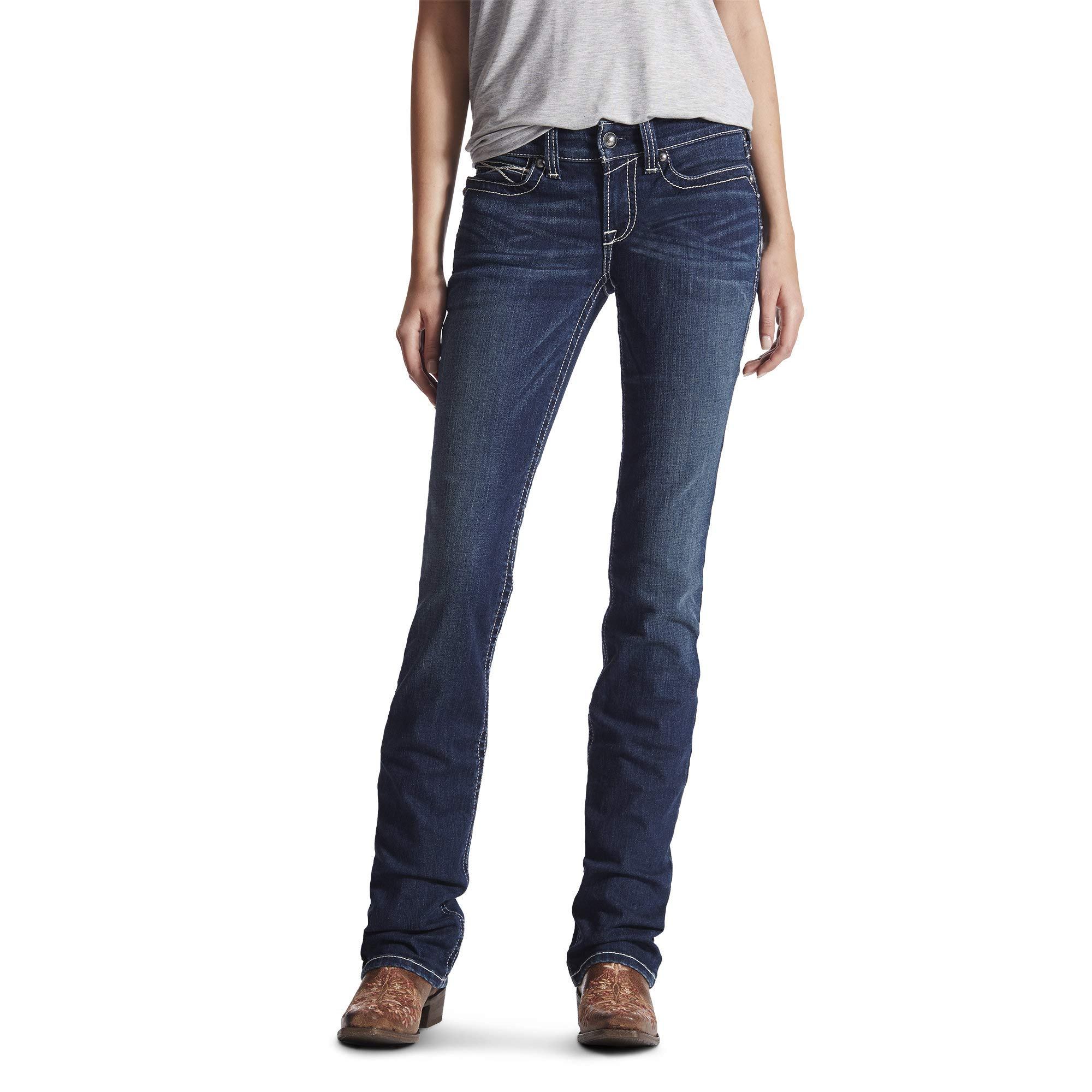 ARIAT Women's R.e.a.l. Mid Rise Stretch Icon Stackable Straight Leg Jean Ocean Size 32 Short