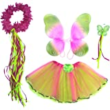 Girls Fairy Costume with Wings, Tutu, Wand & Halo Fits Age 2-7 (Hot Pink & Green)