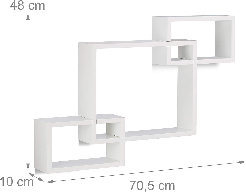 Blanco y Negro Madera Relaxdays Estantes de Pared en Forma de Cubos 10x70.5x48 cm