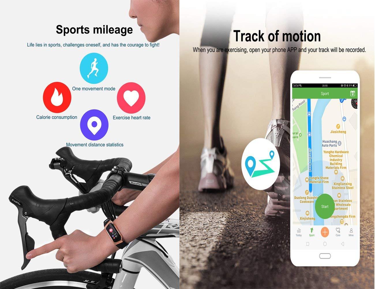 YSCYLY Monitorizadores de Actividad física GPS GPS Monitor de Ritmo cardíaco Presión Arterial Podómetro IP67 Impermeable Control Saludable del sueño ...