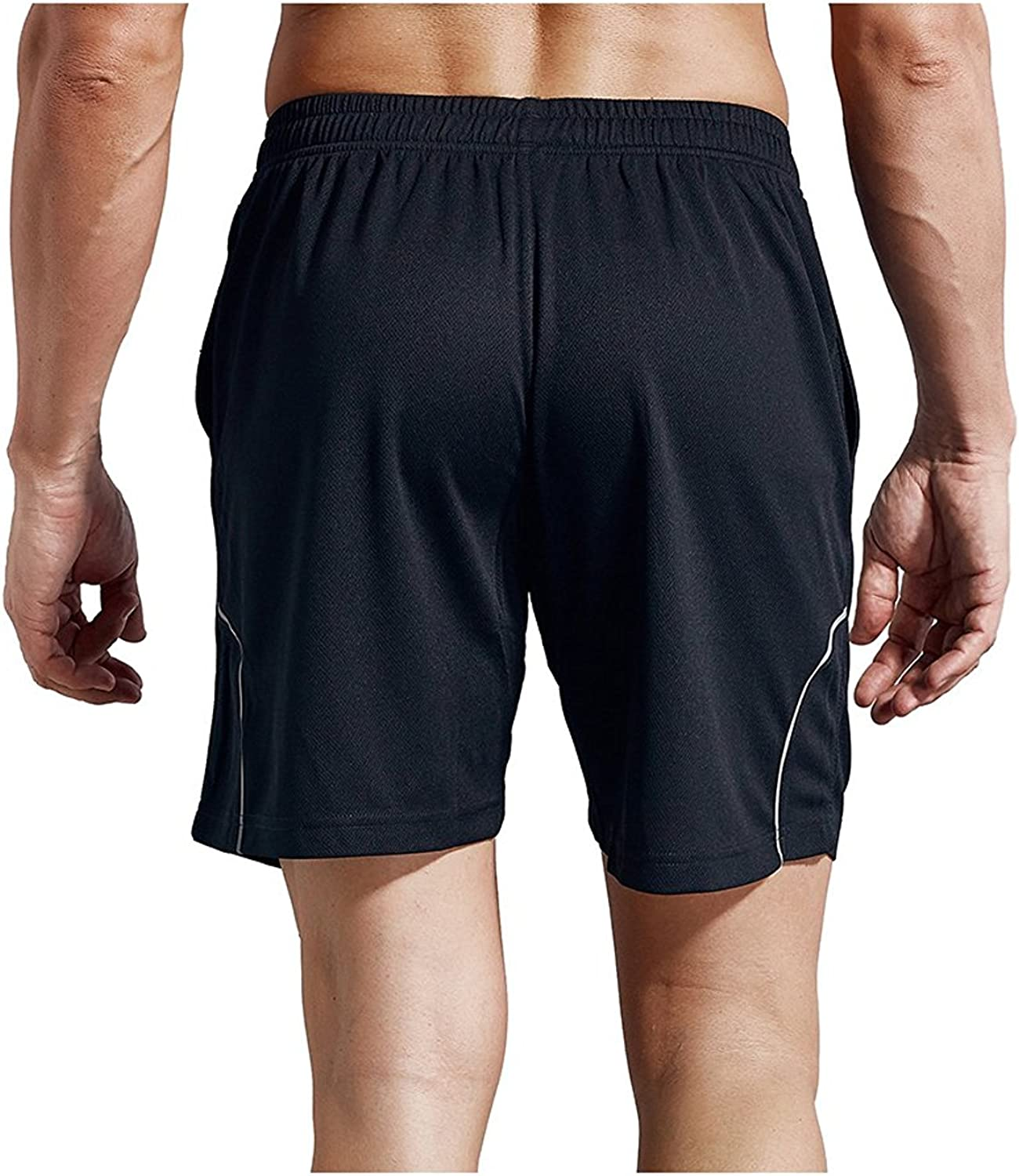 Chiguo ZENGVEE Mens Body Building Mesh Workout Gym Running Active Solid Shorts