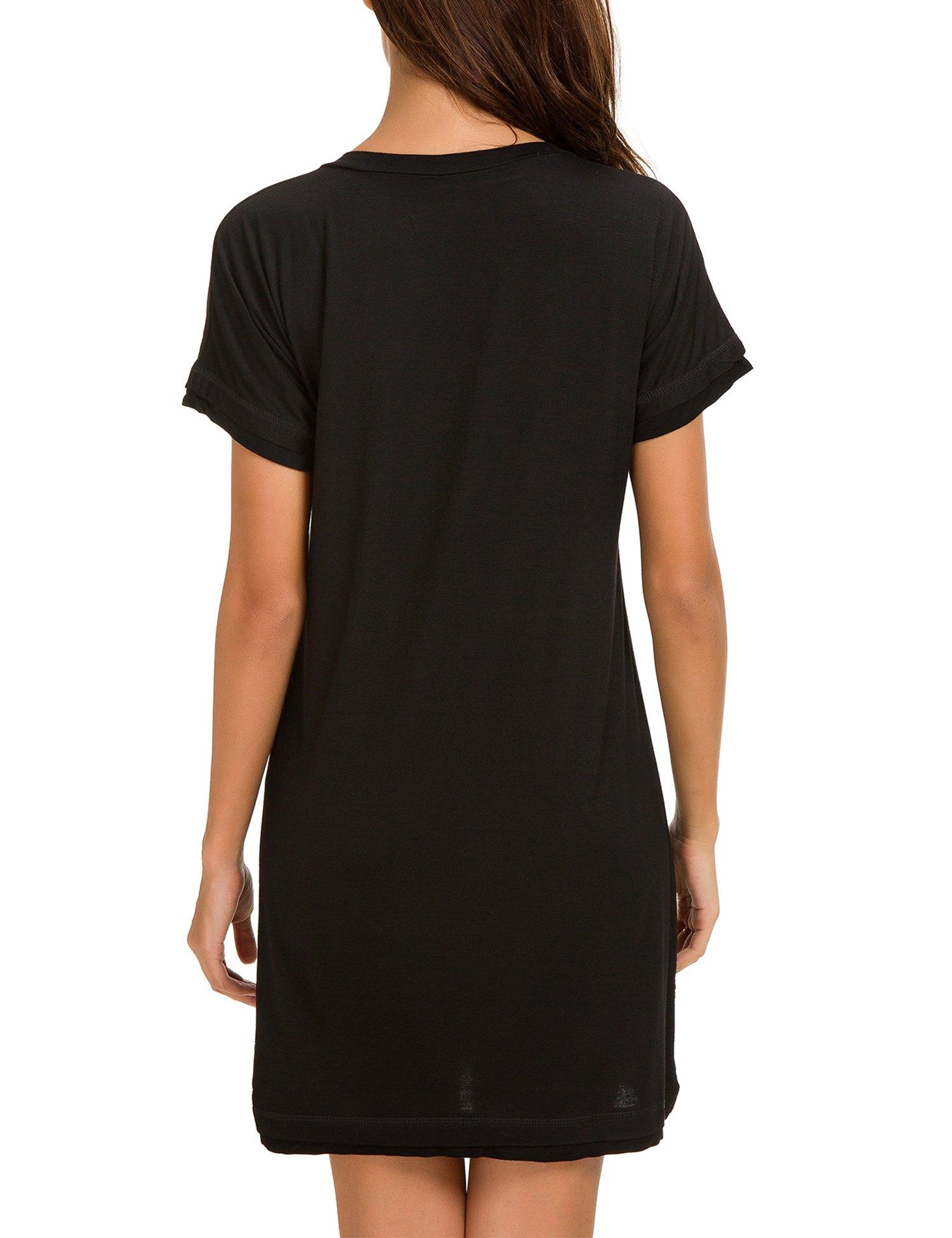 Dolay Women's Sleepwear Cotton Sleep Tee Short Sleeves Knit Sleepshirt (Black, XL) by Dolay (Image #2)