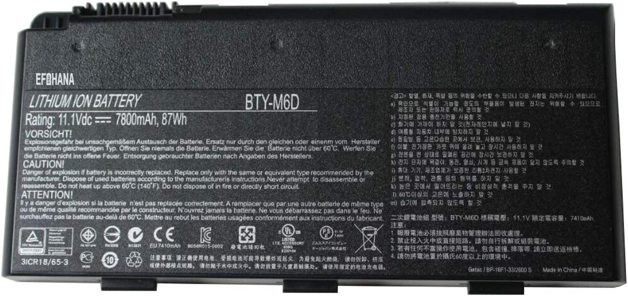 efohana BTY-M6D Laptop Battery Replacement for MSI GT6 GT60 GT660 GT663 GT670 GT680 GT7 GT70 GT760 GT780 GT783 GX6 GX60 GX660 GX680 GX7 GX70 GX780 Series Notebook 11.1V 87Wh 7800mAh