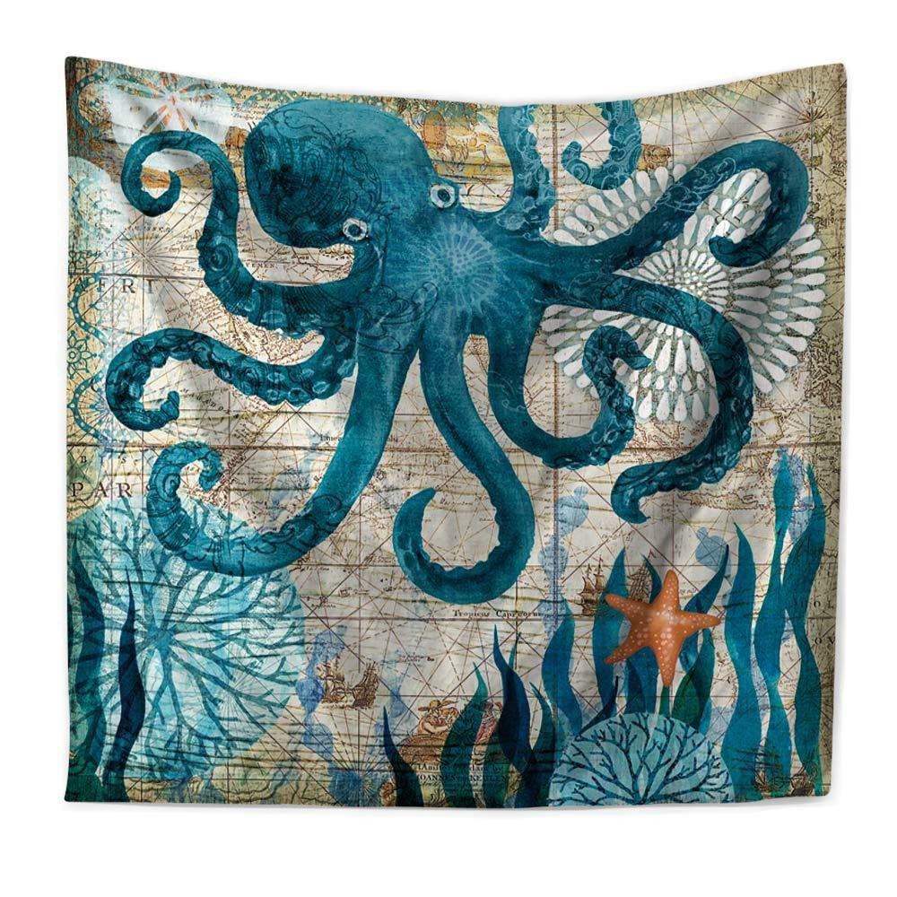 RFVBNM Tapestry,Hippie Hippy Tapestries,Mediterranean Marine Animal Octopus Printing Home Tapestry,Cotton Handmade Bedsheet,sofa cover,Bedding Bedspread,Picnic Beach Sheet,Table Cloth,150130cm