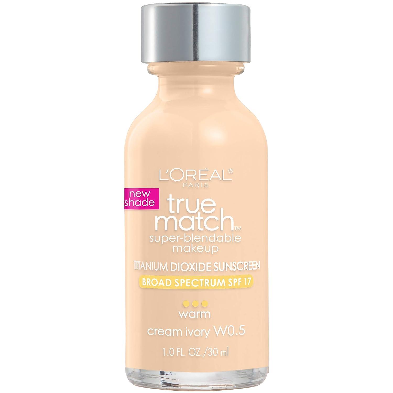 L'Oreal Paris Makeup True Match Super-Blendable Liquid Foundation, Cream Ivory W0.5, 1 Fl Oz,1 Count