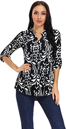PYW Women's V Neck Floral Tunic Tops Casual Short Sleeves Loose T-Shirt Fit for Leggings